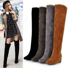 Womens Faux Suede Over the Knee hidden heel Fur Lined Warm Winter Tall Thin Boot