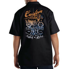 Dickies Black Mechanic Work Shirt Biker Custom Motorcycles American Tradition
