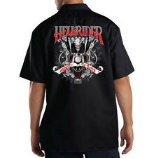 Dickies Black Mechanic Work Shirt Hellrider Skull Riding Motorcycle Biker