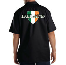 Dickies Black Mechanic Work Shirt Distressed Ireland Flag Colors Irish Pride