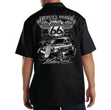 Dickies Black Mechanic Work Shirt Americas Highway The Mother Road Route 66 USA