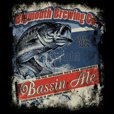 Bass Ale Big Mouth Brewing Company Beer & Fishing Funny Humor Fun T-Shirt Tee