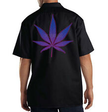 Dickies Mechanic Work Shirt Neon Purple Pot Leaf Marijuana Weed 420 Kush Chronic