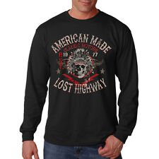American Made Lost Highway Classic Motors Chief Skull Long Sleeve T-Shirt Tee