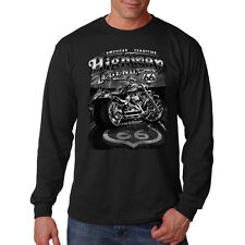 American Tradition Highway Legend Route 66 Motorcycle Long Sleeve T-Shirt Tee