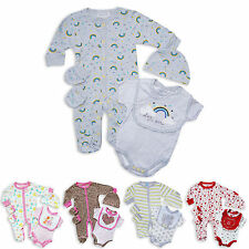 5pc Baby Boys Girls Layette Set Sleepsuit Bodysuit Bib Hat Mittens Unisex Outfit