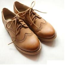 Retro Flat Womens Low-top Lace-Up England Brogue Grils College Oxford Shoes#2016