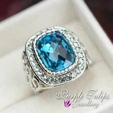 Antique Stylish 18K White Gold GP Sapphire Made With SWAROVSKI Crystals Ring