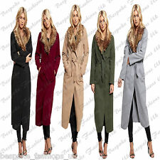 Ladies Women's Long Sleeve Belted Long Maxi Faux Fur Collar Coat Jacket One Size