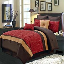 Elegant 8 Piece Red/Gold/Chocolate Comforter Set With decorative pillows New.