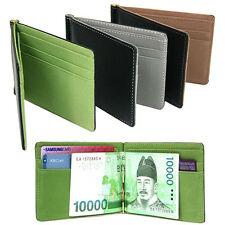 Trendy Ultra-Thin Magic Money Clip Faux Leather Card Holder Bifold Mini Braw