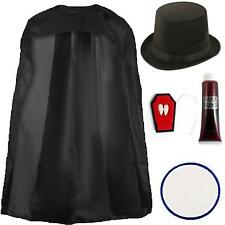 Victorian Old Vampire Dracula 5pc Set Gothic Horror Halloween Cape Top Hat Fangs