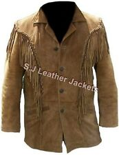 Men's Fashion Western Style Fringed Jacket - Cow Suede Leather