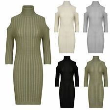 WOMENS KNITTED CUT OUT COLD SHOULDER LONG SLEEVE POLO NECK MIDI BODYCON DRESS