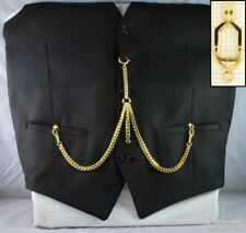 Double Albert pocket watch chain w/ open-style belt clip; various finish options