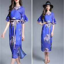 Chinese Women's Dress Floral 1/2 Sleeve Cheongsam QiPao Evening Long Dress
