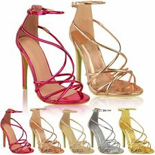 Womens Ladies High Heels Party Sandals Strappy Stiletto Celeb Evening Shoes Size