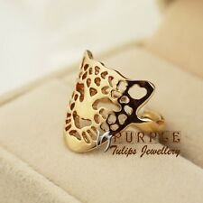 18CT Rose Gold Plated Hollow-out Leopard Head Ring W/ Genuine SWAROVSKI Crystals