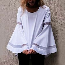New Womens Ladies Fashion Chic Trumpet Long Sleeve White Blouse Tops Shirt SML