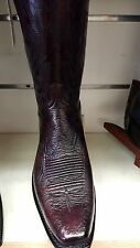 New Lucchese A1022.73 Black Cherry smooth Ostrich 7 Toe Cowboy Boot USA made