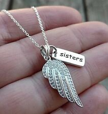 Solid Sterling Silver Sister Sisters Charm CZ Angel Wing Pendant Necklace GIFT