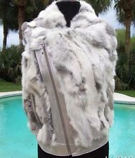 Cache $278 METALLIC LEATHER FUR VEST DIAGIONAL ZIPPER Coat Top NWT XS/S/M/L