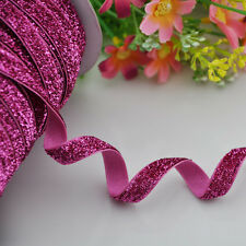 10y Fushia Metallic Glitter ribbon Wedding Party Supply Decoration DIY Crafts