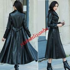 Womens Single Breasted Full Length Long Leather Trench Jacket Belted Coat XS-8XL