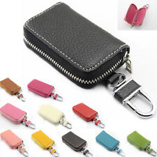 Men Women Leather Car Key Chain Ring Keychain Case Holder Bag Wallet Purse Cover