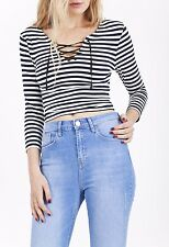 Topshop Navy White Stripe Lace Up Cropped Long Sleeve Casual Top Size 6-16