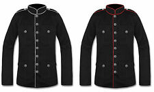 Military Jacket Black Red Goth Steampunk Army Officer Pea Coat Handmade