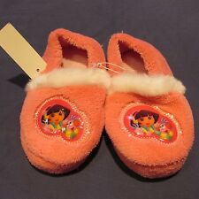 NWT Toddler Girl Dora Explorer Slippers M 7 8 L 9 10 House Shoes Pink Fur-Trim