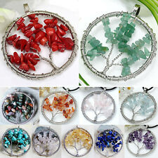 Chips Wire Wrap Natural Gemstone Life Tree Bead Pendant for Necklace Spirited