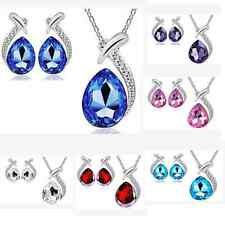 Women's Party Waterdrop Jewelry Set Crystal Pendant Necklace Earrings Charming