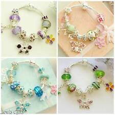 childrens charm bracelet butterfly bag flower charms