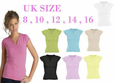 LADIES T-SHIRT PLAIN SHORT SLEEVED V NECK CAUSAL TOP T-SHIRT