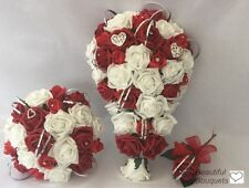 Wedding bouquets flowers white Ivory red silver heart posys wand brides