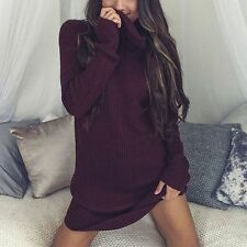Sexy Women Turtleneck Long Sleeve Bodycon Slim Knitted Party Sweater Mini Dress