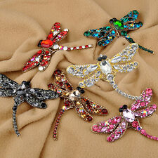 Women's Dragonfly Crystal Brooch Lovely Rhinestone Scarf Pin Jewelry Spirited