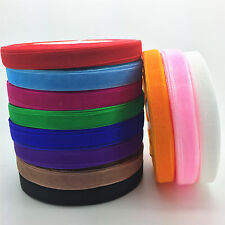 "50 yard Roll Spool 3/8"" 9mm Satin Edge Sheer Organza Ribbon Craft 12 color C"