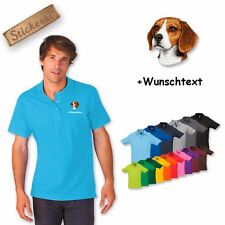 Polo Shirt Cotton embroidered Dog Hunting Beagle + Desired text