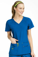 Activate by Med Couture Women's Refined V-Neck Solid Scrub Top 8416-Royal