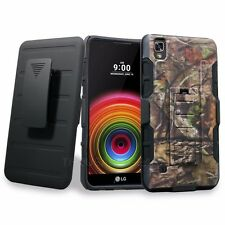 For LG Tribute HD / LG X Style Holster Case Kickstand Hybrid Phone Cover Camo