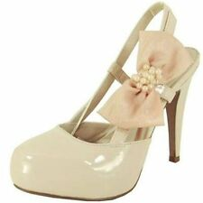 Dressy prom wedding platform slingback 4.5 inch high heel pumps bow pearls nude
