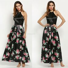 New Sexy Women Backless Halter Neck Floral Formal Evening Gown Party Long Dress