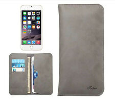 Dual Pocket Business Leather Clutch Bag Card Case Purse For iPhone 7 Smartphone
