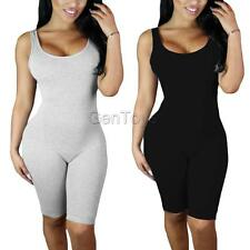 Women Soft Sexy Crew Neck Sleeveless Backless Tight Rompers Jumpsuits