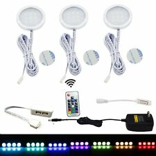3 RGB LED Under Cabinet Lighting Aluminum Puck Lights with Wireless RF Remote