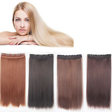 "Womens Natural Human Hair Extensions Full Head Clip In 23"" Straight Hair Weft"