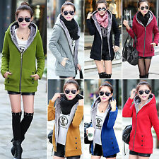 New Women Thicken Fleece Hoody Winter Warm Slim Coats Trench Jackets Outerwear